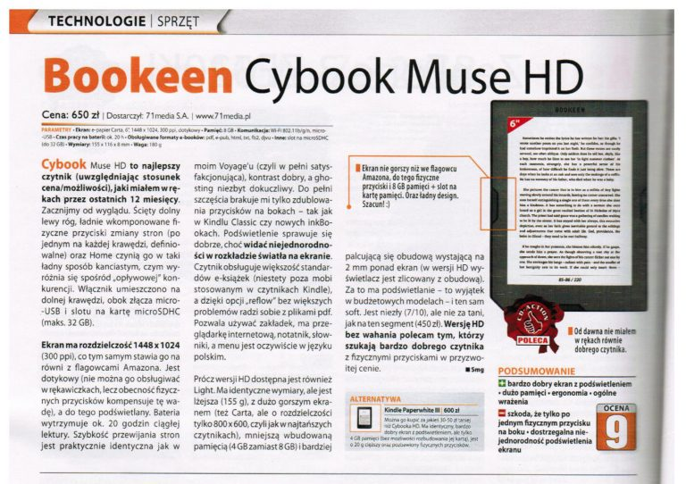 Cybook Muse HD w teście CD-Action