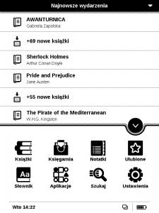 Pocketbook 625 Basic Touch 2 menu