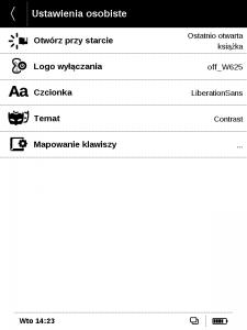 Pocketbook 625 Basic Touch 2 ustawienia osobiste