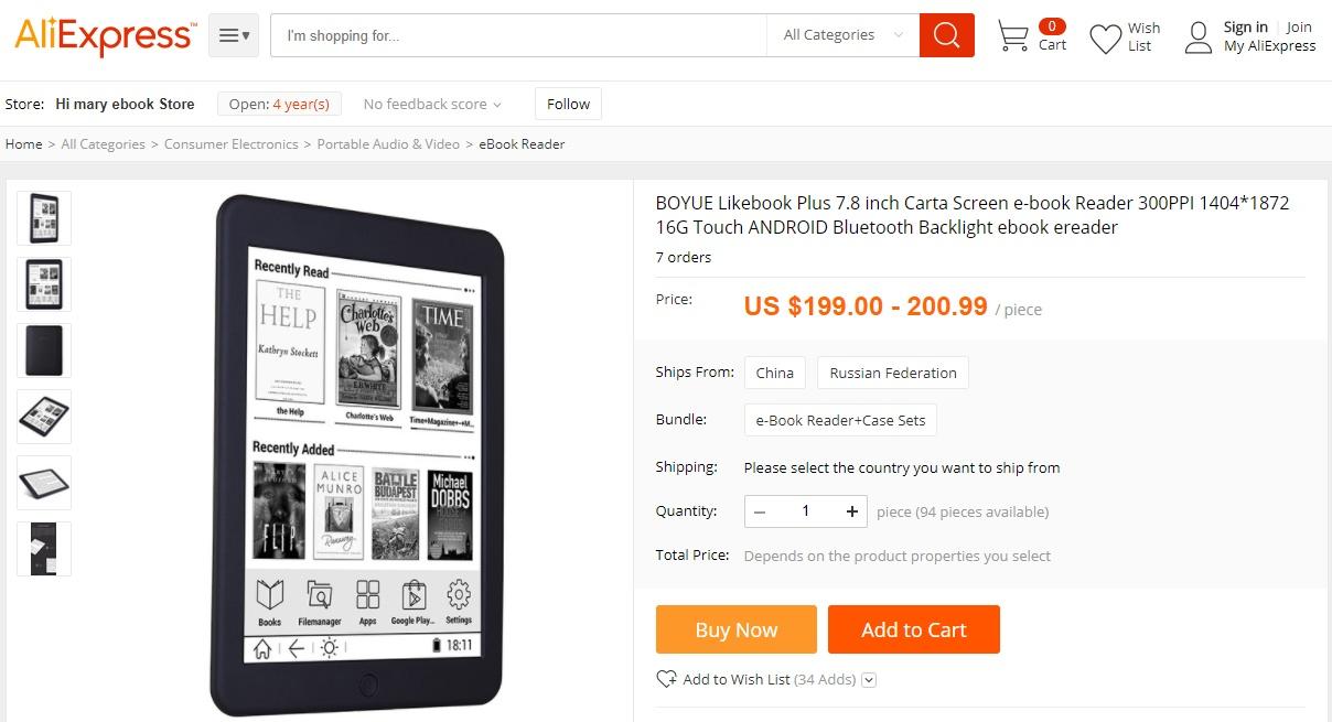 Czytnik Boyue Likebook Plus dostępny jest na aliexpress
