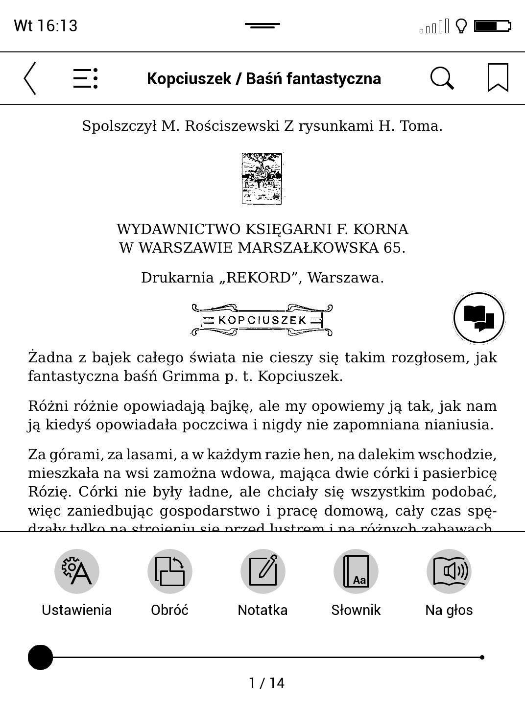 kontekstowe menu książki