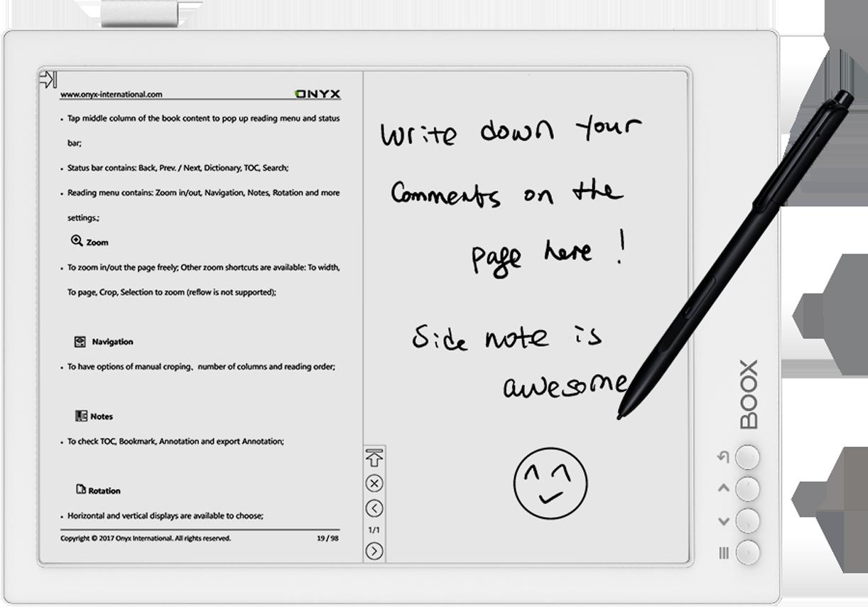 Ekran urządzenia pozwala na swobodne robienie notatek