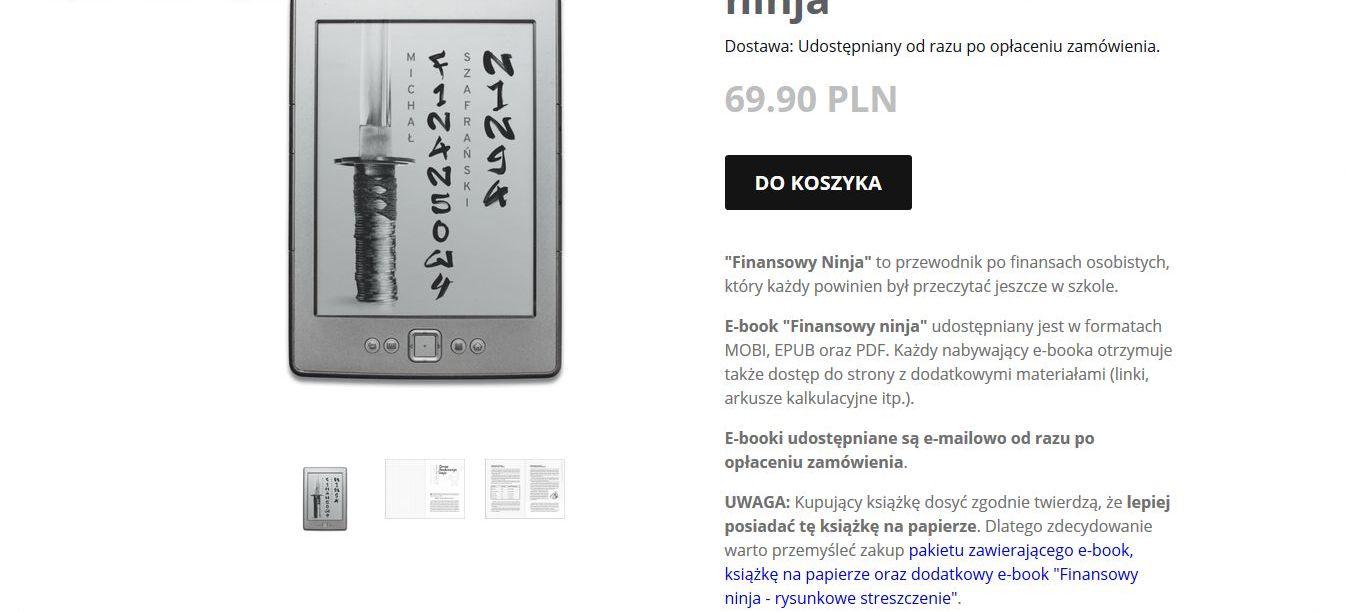 Finansowy ninja - książka w wersji papierowej i elektroniczej