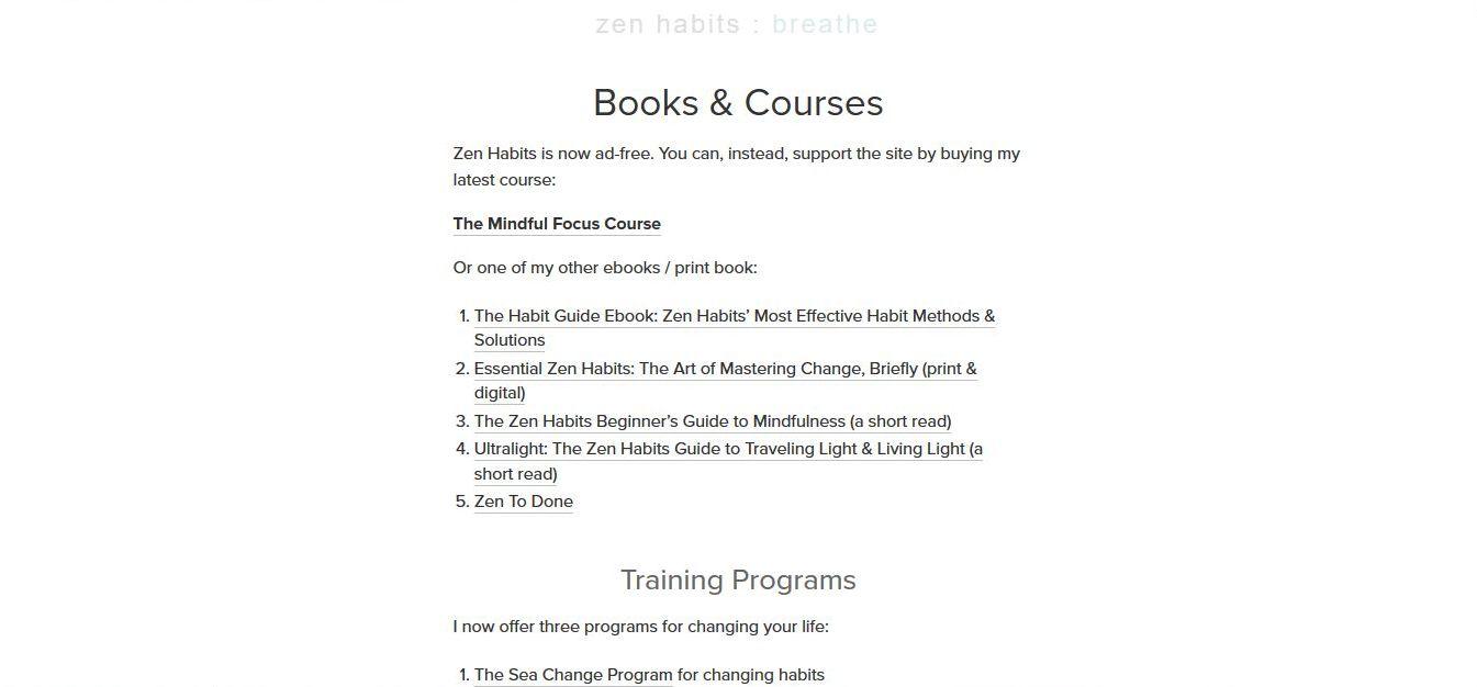 Zenhabits - przykład wykorzystania bloga do promocji ebooka