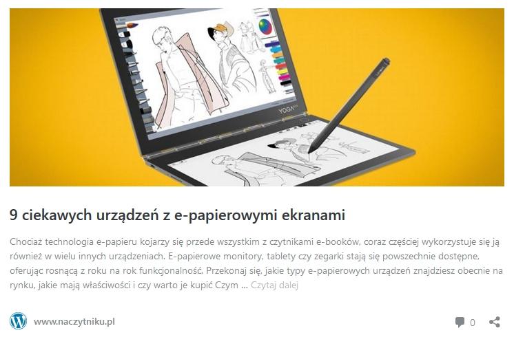 9 urządzeń z e-papierowymi ekranami - odnośnik