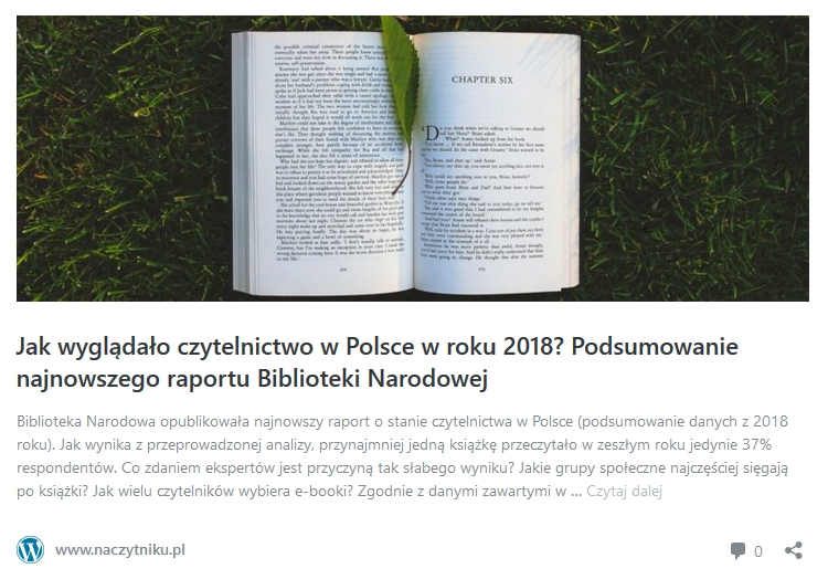 Raport o czytelnictwie w Polsce w 2018 roku