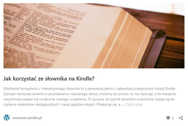 słownik na kindle - odnośnik do artykułu