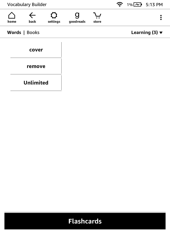 korzystanie z vocabulary buildera na kindle - zrzut ekranu