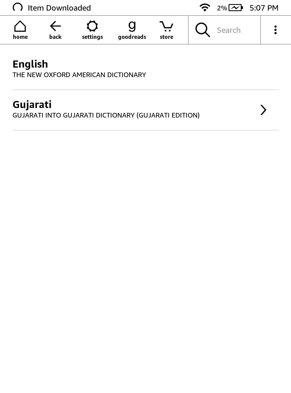 wybór języka słowników na kindle - zrzut ekranu