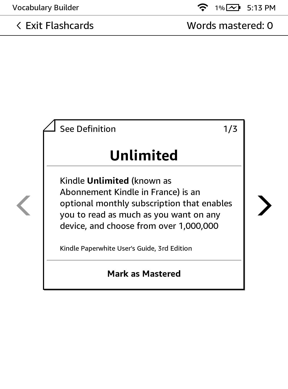 korzystanie z flashcards na kindle - zrzut ekranu
