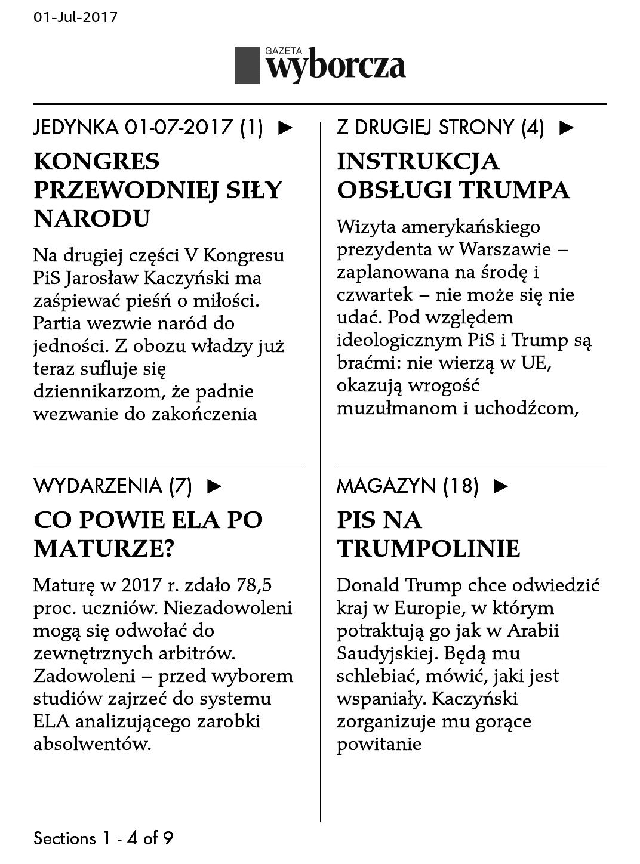 kindle zrzut ekranu - gazeta wyborcza