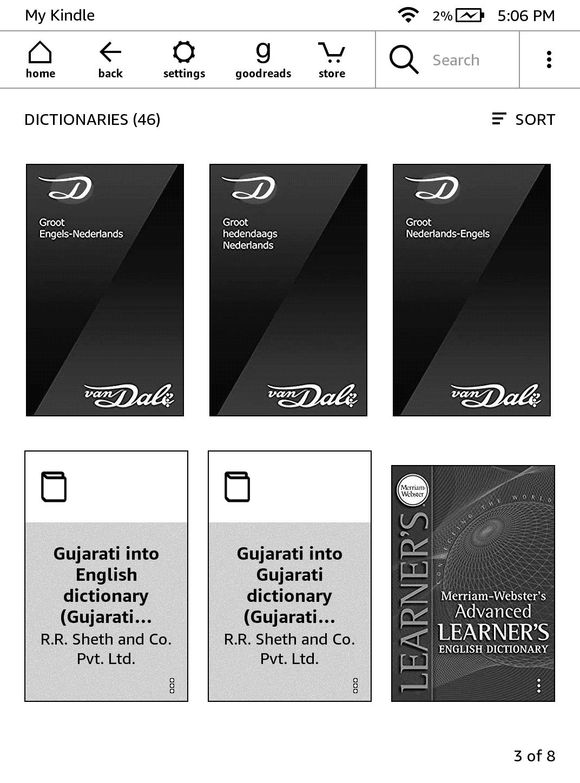 wybór słowników na kindle - zrzut ekranu