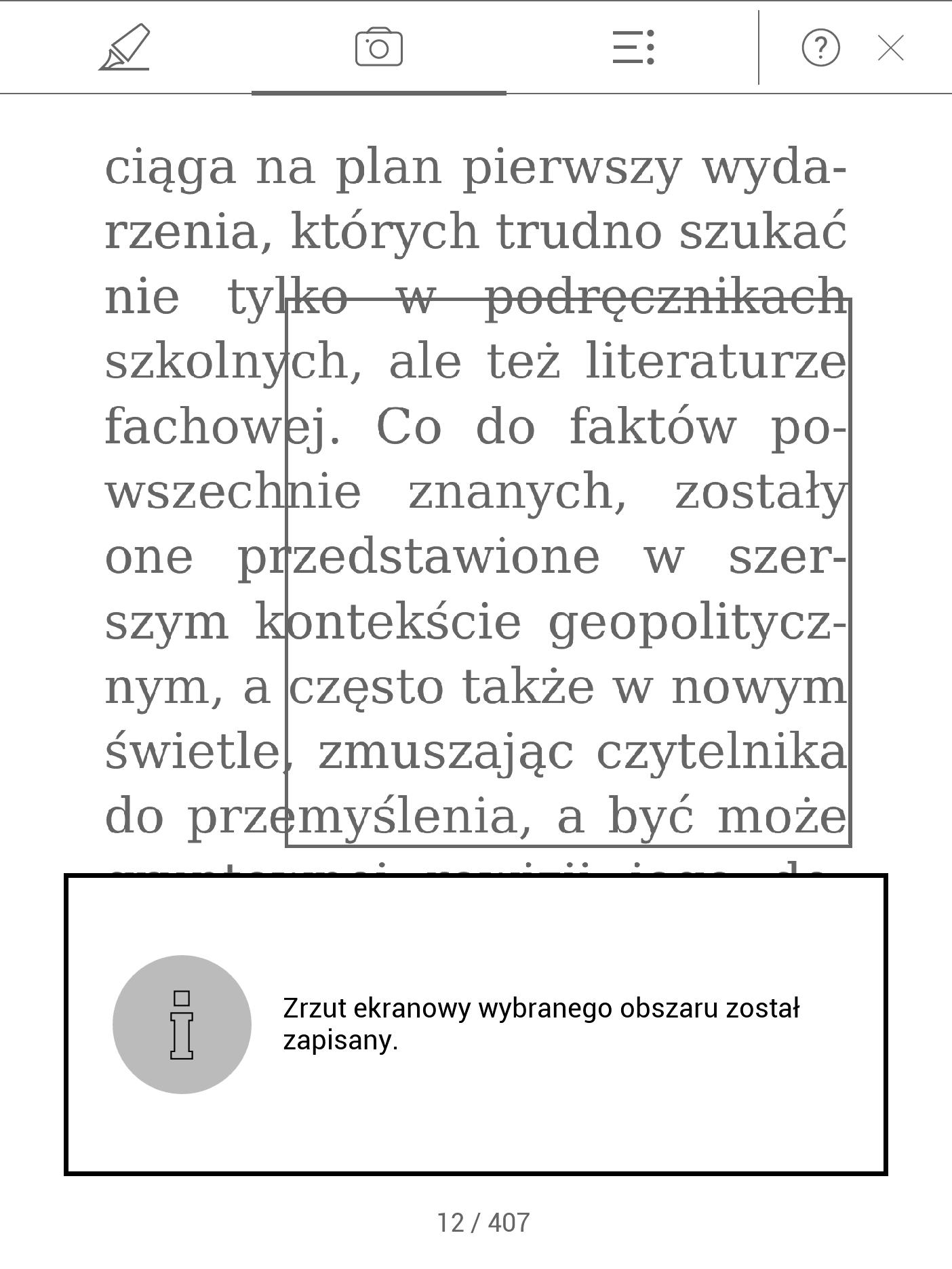 Zapisywanie fragmentów tekstu w formie obrazów na PocketBooku