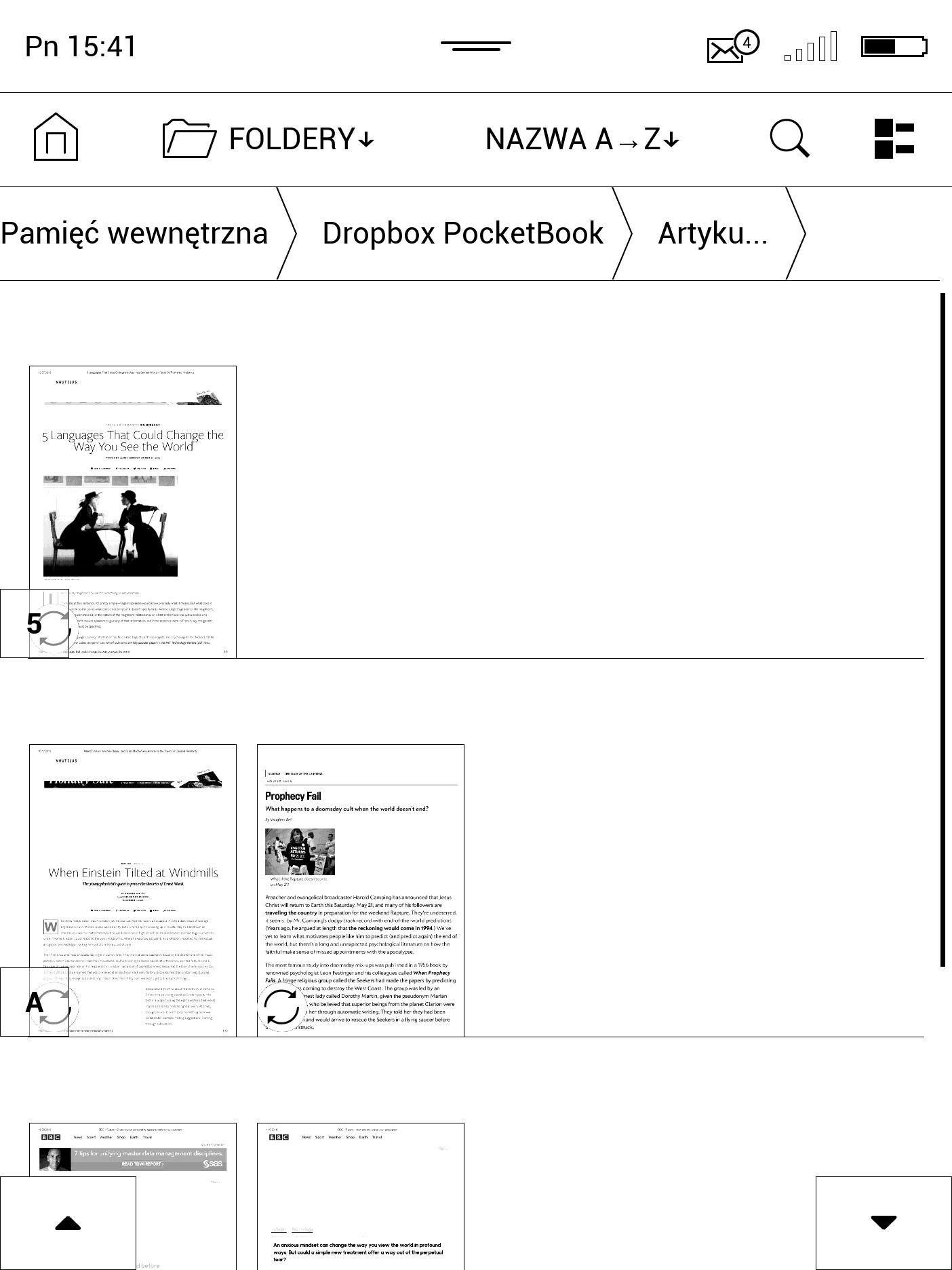 Zarządzanie plikami na Dropboxie z poziomu czytnika