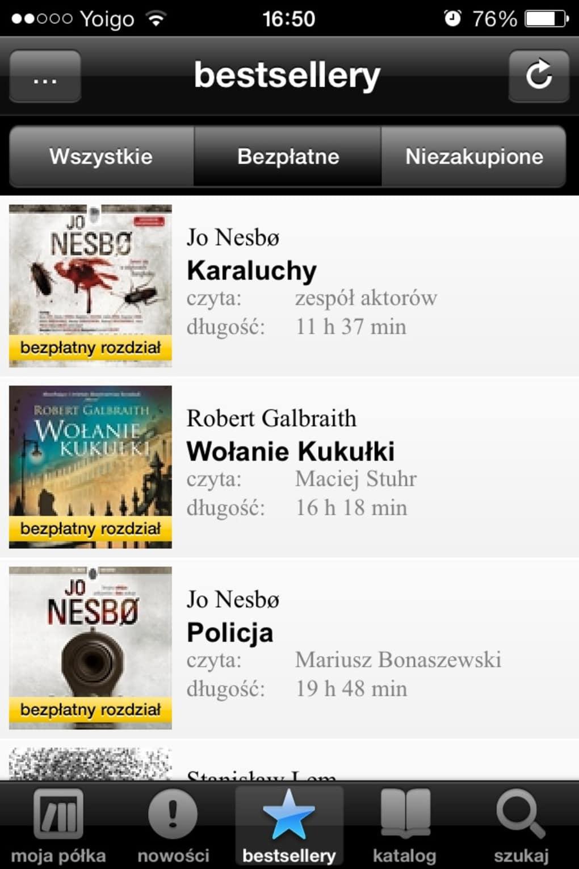 Audioteka na iPhonie - lista książek