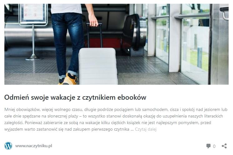 Zakup czytnika ebooków na wakacje - odnośnik do artykułu