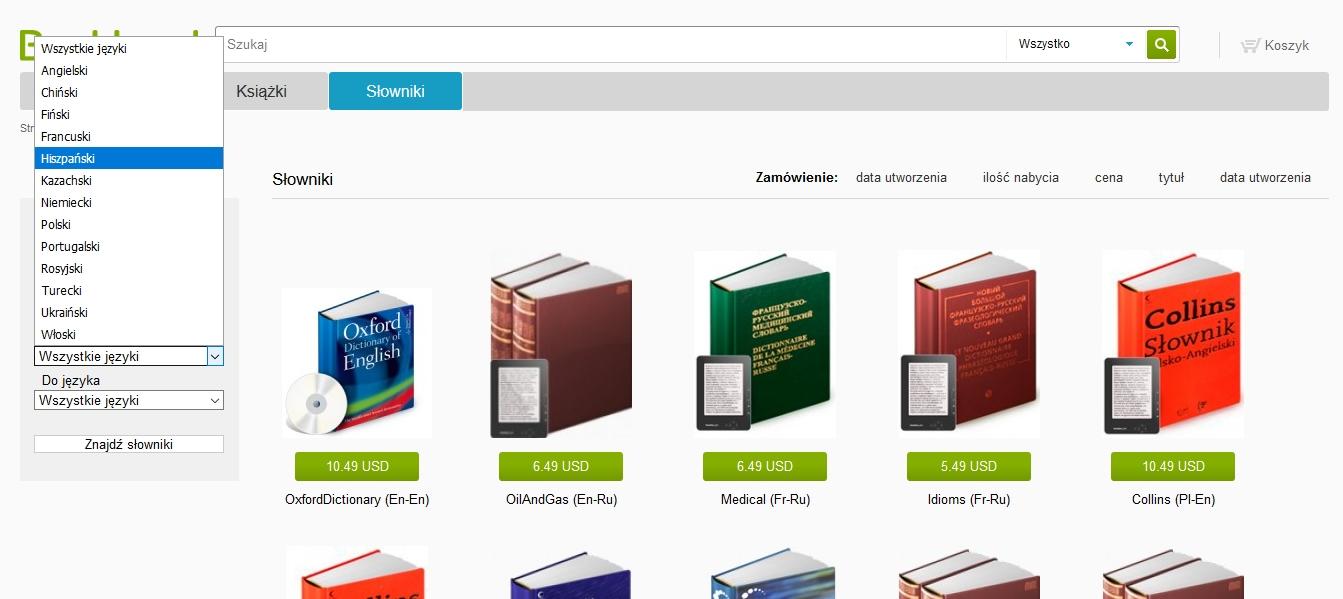 Bookland.com – dostępne języki interaktywnych słowników