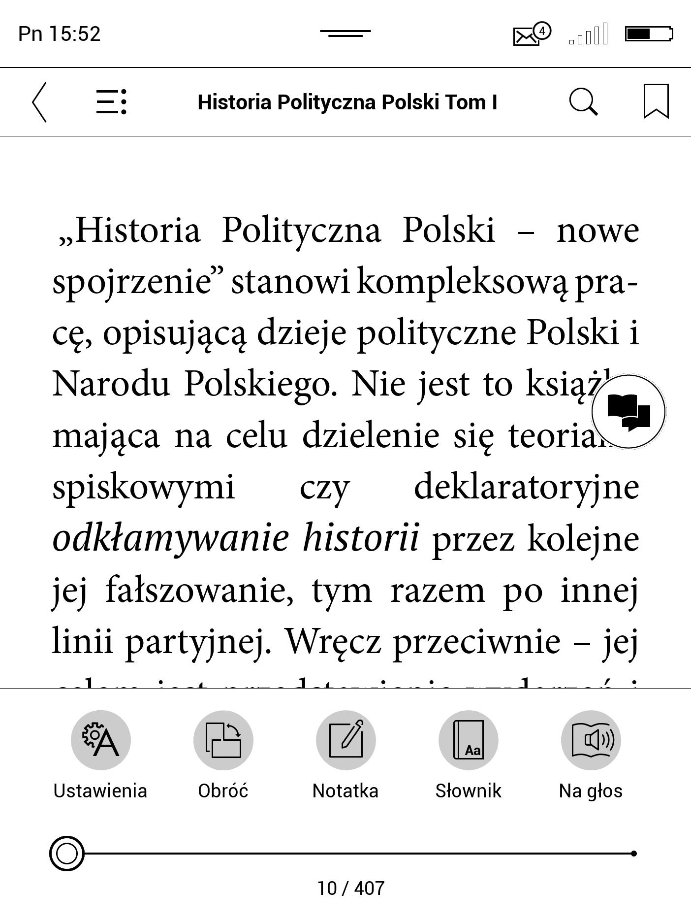 Włączanie trybu Notatka na PocketBooku
