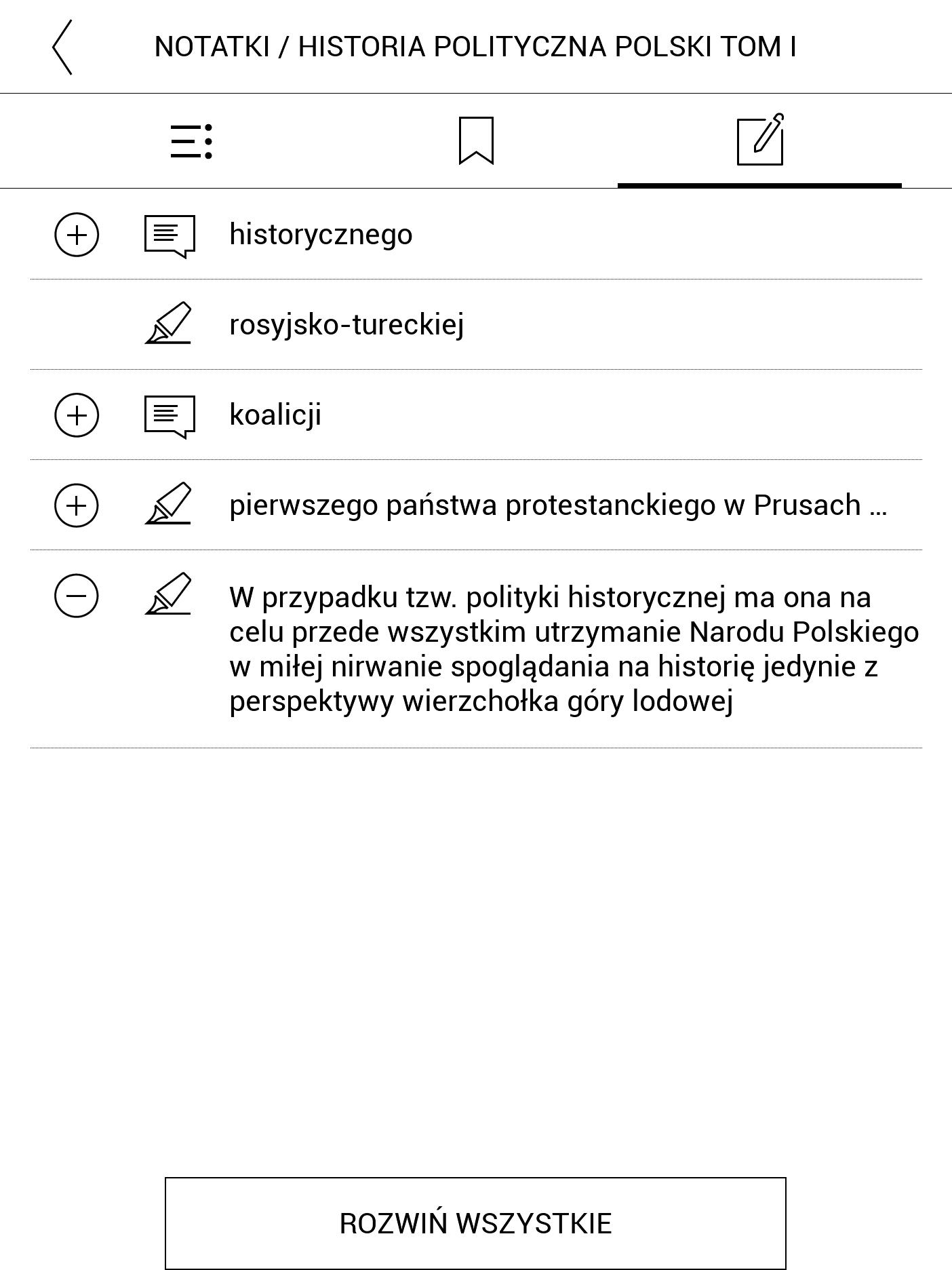 Przeglądanie podkreślonych fragmentów w spisie treści