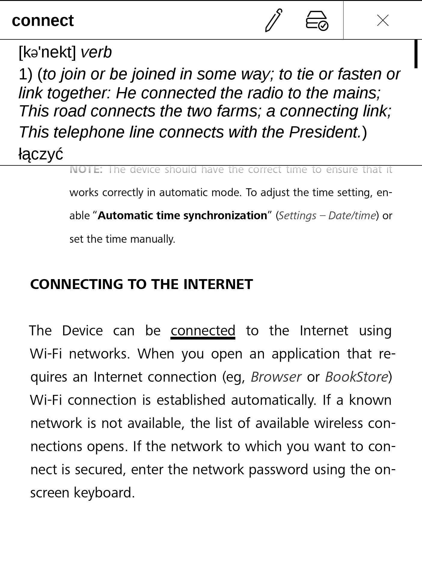 Tłumaczenie podkreślonego słowa na PocketBooku