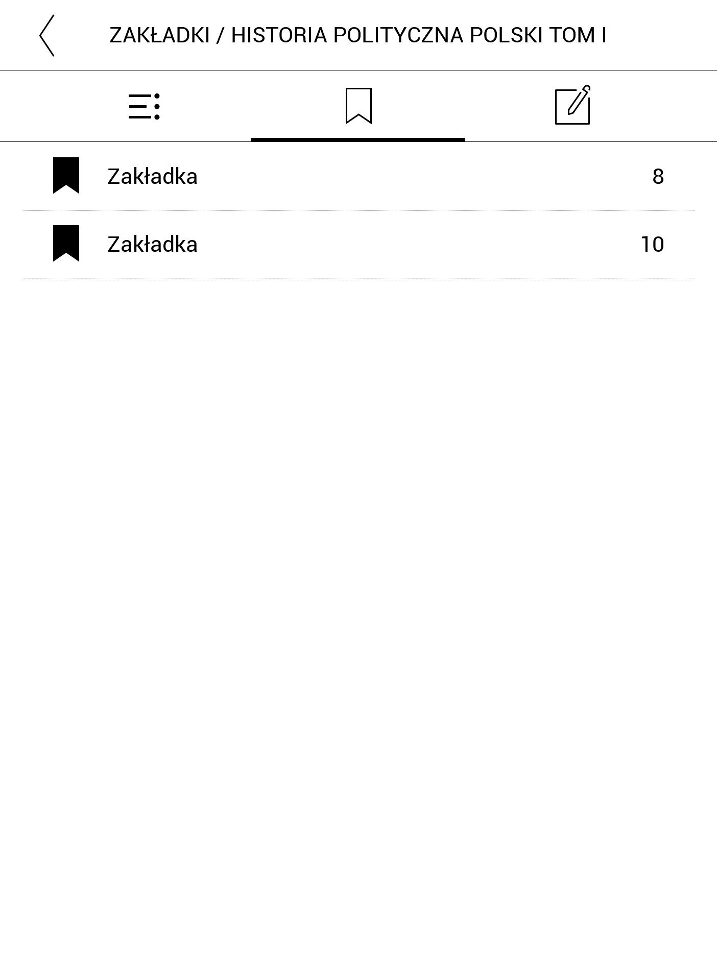 Przeglądanie zakładek w spisie treści książek EPUB na PocketBooku