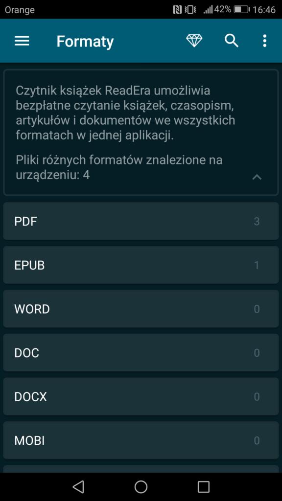 ReadEra umożliwia obsługę wszystkich najpopularniejszych formatów tekstowych