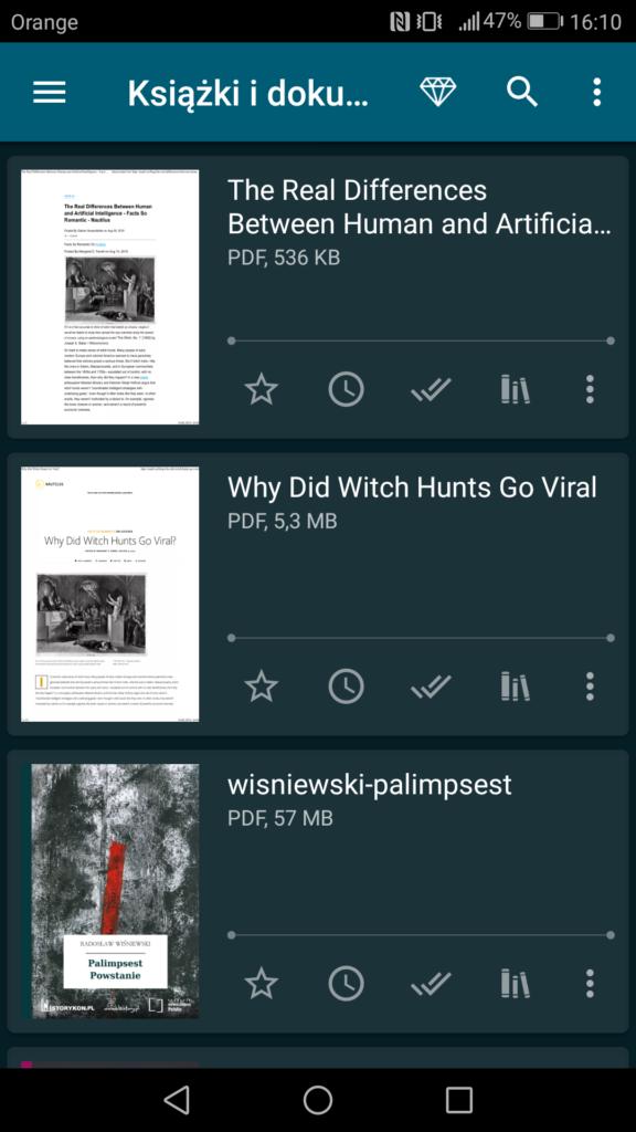 Podgląd dostępnych ebooków i innych plików w menu głównym