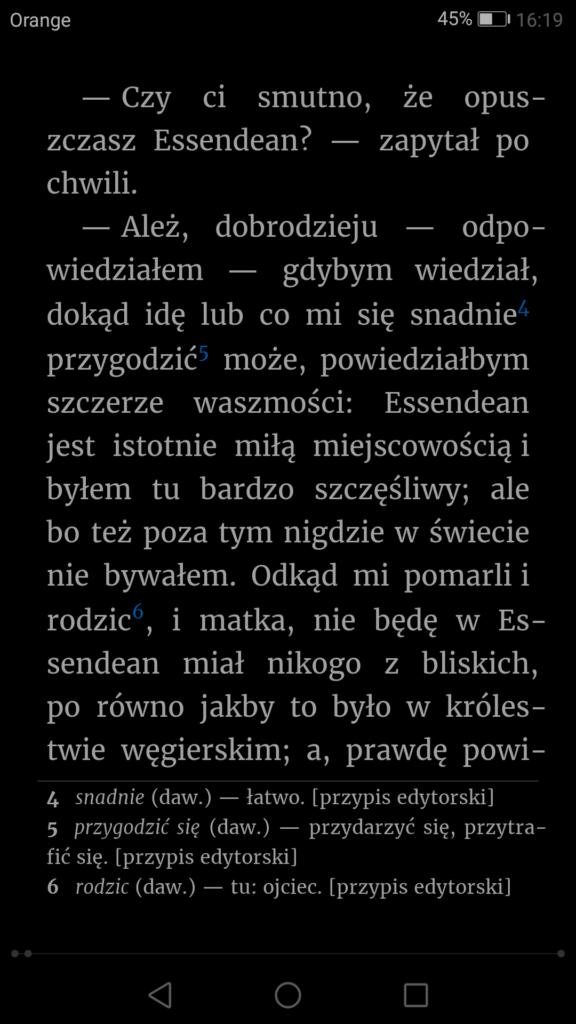 Tryb nocny wyświetlania tekstu w ReadEra