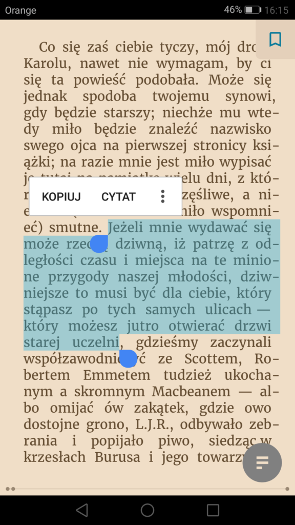 Oznaczanie fragmentów tekstu i wybieranie cytatów w aplikacji ReadEra