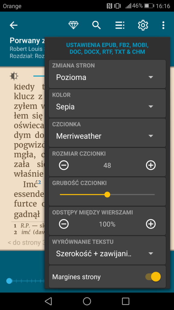 Personalizacja ustawień wyświetlania tekstu w aplikacji ReadEra