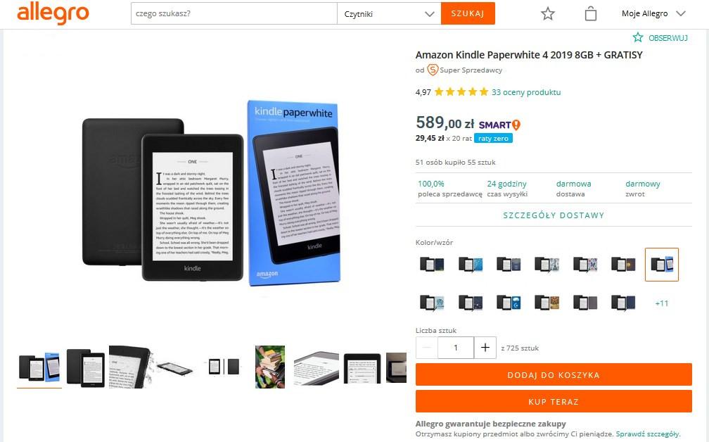 Kindle Paperwhite 4 do kupienia w serwisie Allegro