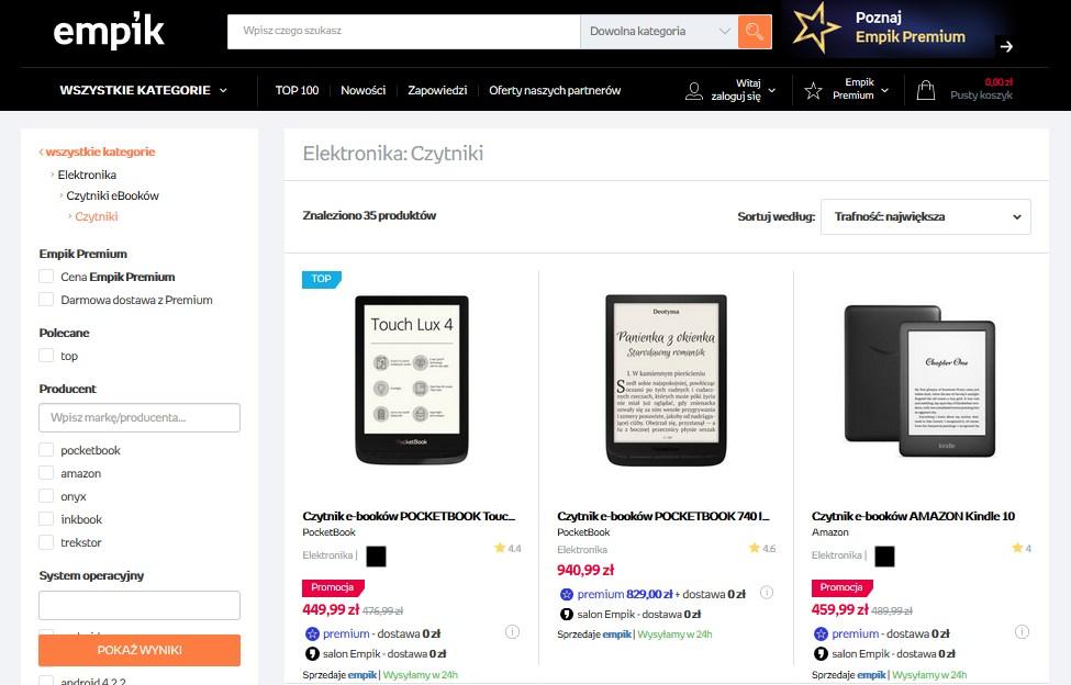 Czytniki ebooków do kupienia na stronie Empik.pl