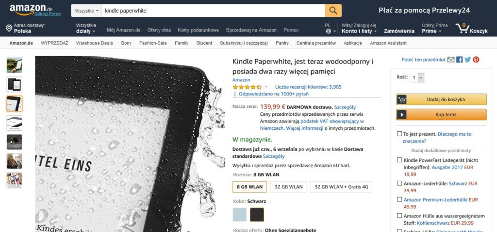 Kindle Paperwhite w serwsie Amazon.de