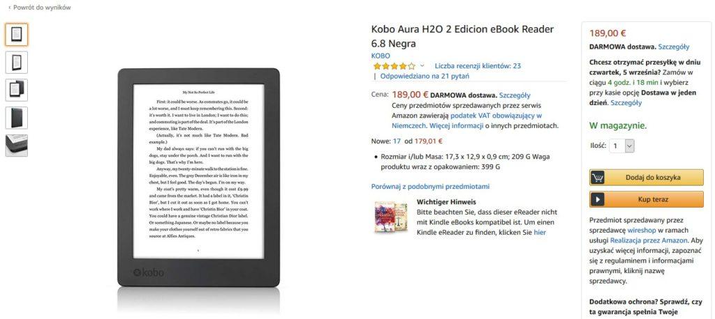Kobo Aura H2O 2 Edition w serwisie Amazon.de
