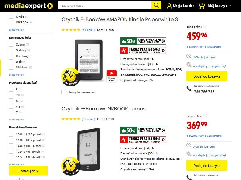 Czytniki ebooków w ofercie sklepu MediaExpert