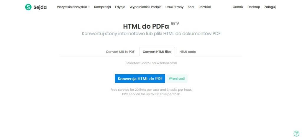Narzędzie online do konwersji pliku HTML na plik PDF