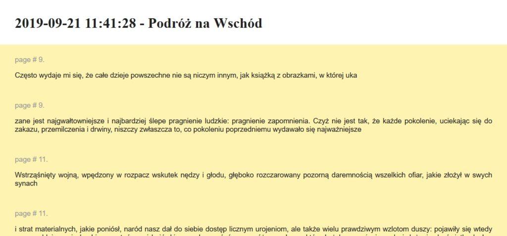 Podgląd wyeksportowanych notatek w przeglądarce internetowej