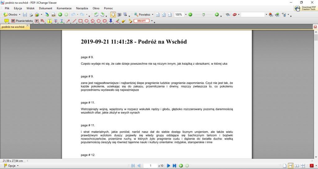 Wyeksportowane z czytnika PocketBook notatki w formie pliku PDF