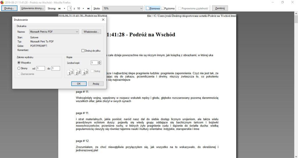 Zapisywanie pliku HTML w formie pliku PDF za pomocą opcji drukowania