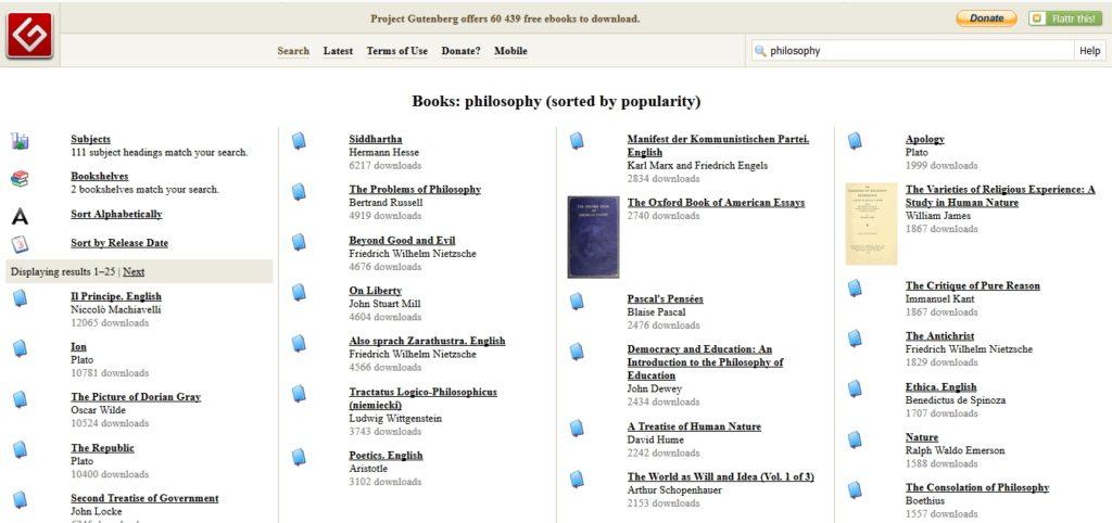 Ebooki filozoficzne dostępne w serwisie Gutenberg