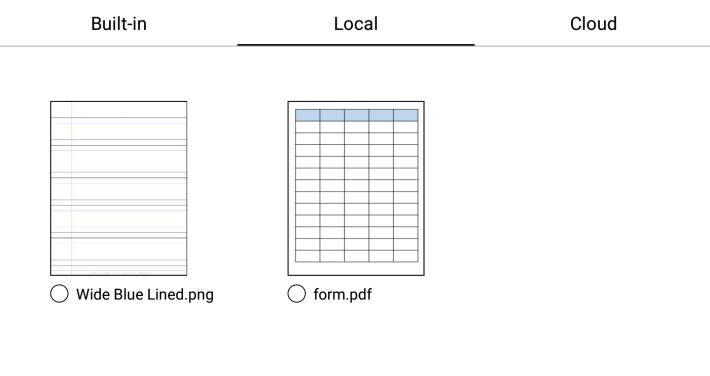 Wybór zapisanego na dysku szablonu w aplikacji do robienia notatek