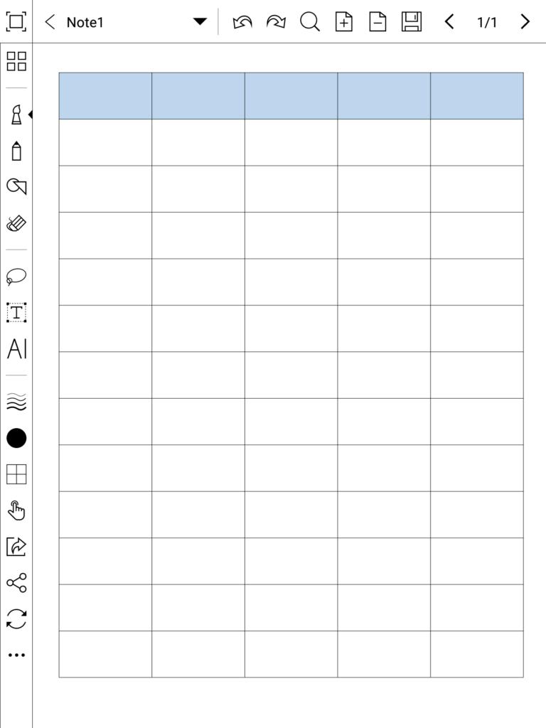 Podgląd nowego szablonu w aplikacji do robienia notatek