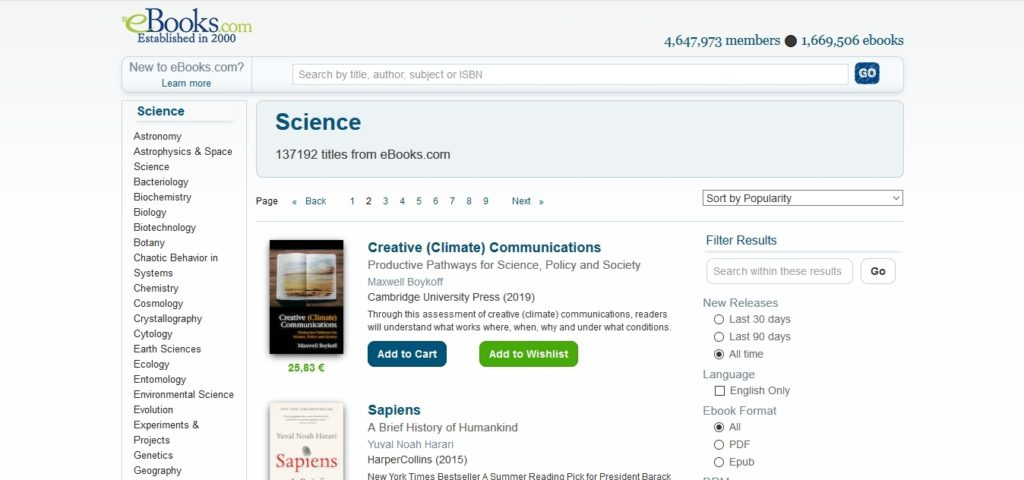 Wyszukiwarka publikacji naukowych na stronie ebooks.com