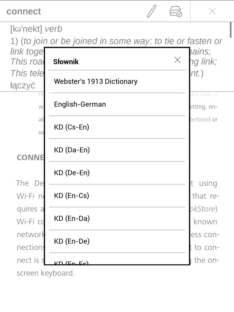 Wybór domyślnego słownika na czytniku ebooków