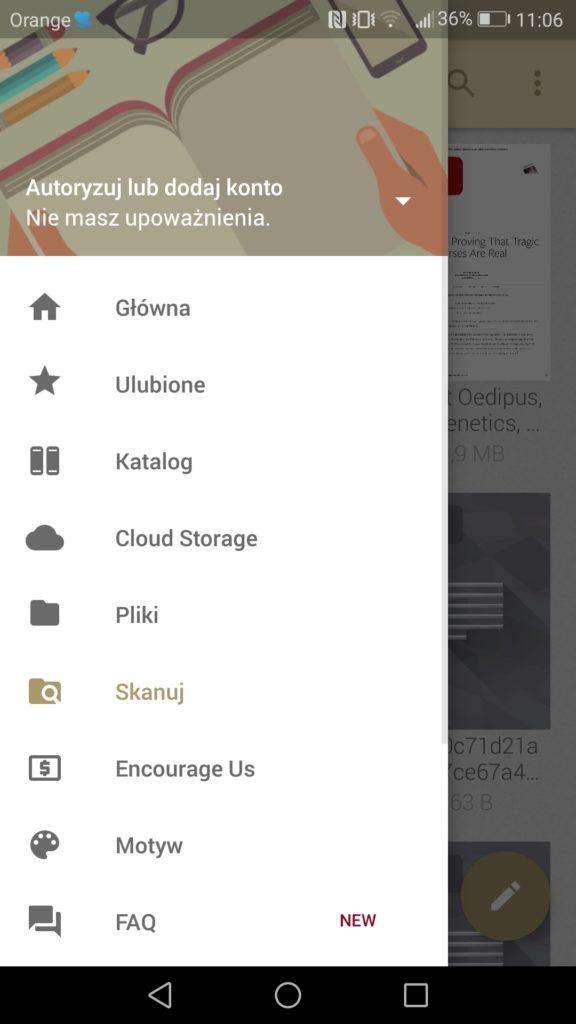 Boczny pasek menu aplikacji