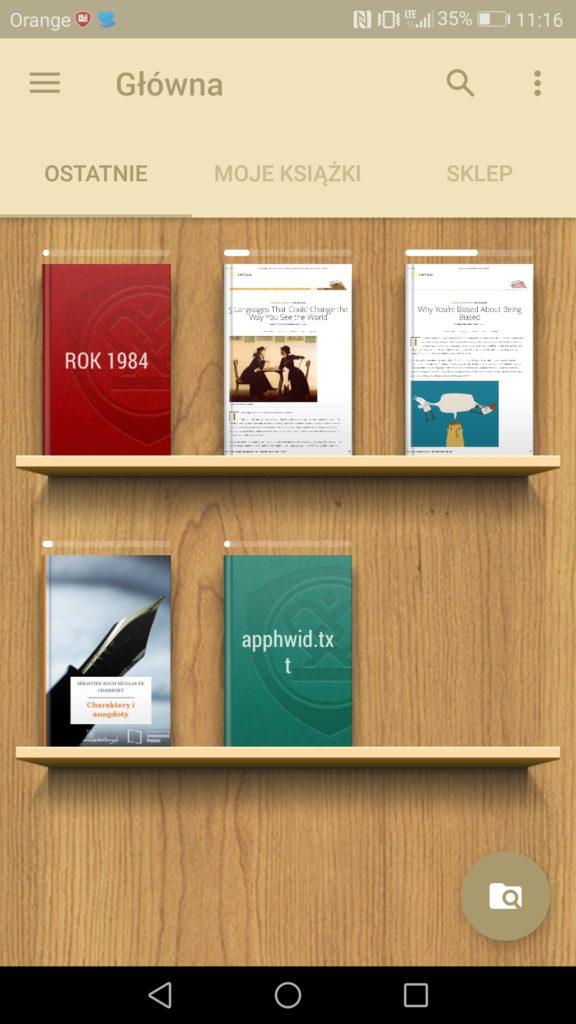 Półki z książkami w aplikacji eReader Prestigio