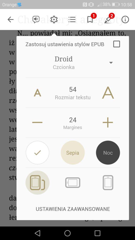 Personalizacja ustawień wyświetlania tekstu w aplikacji eReader Prestigio