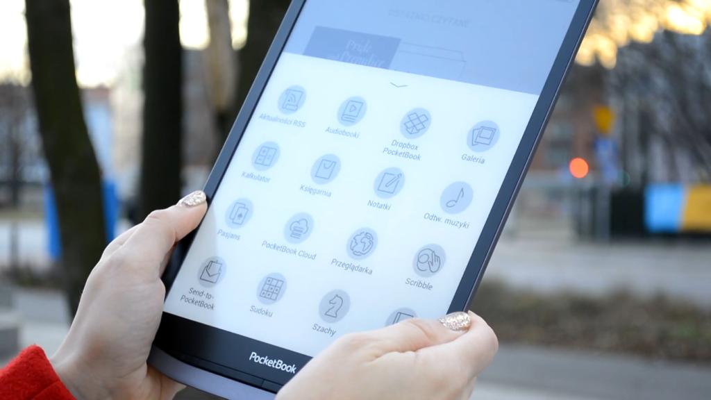 Podgląd menu z aplikacjami na PocketBooku InkPad X