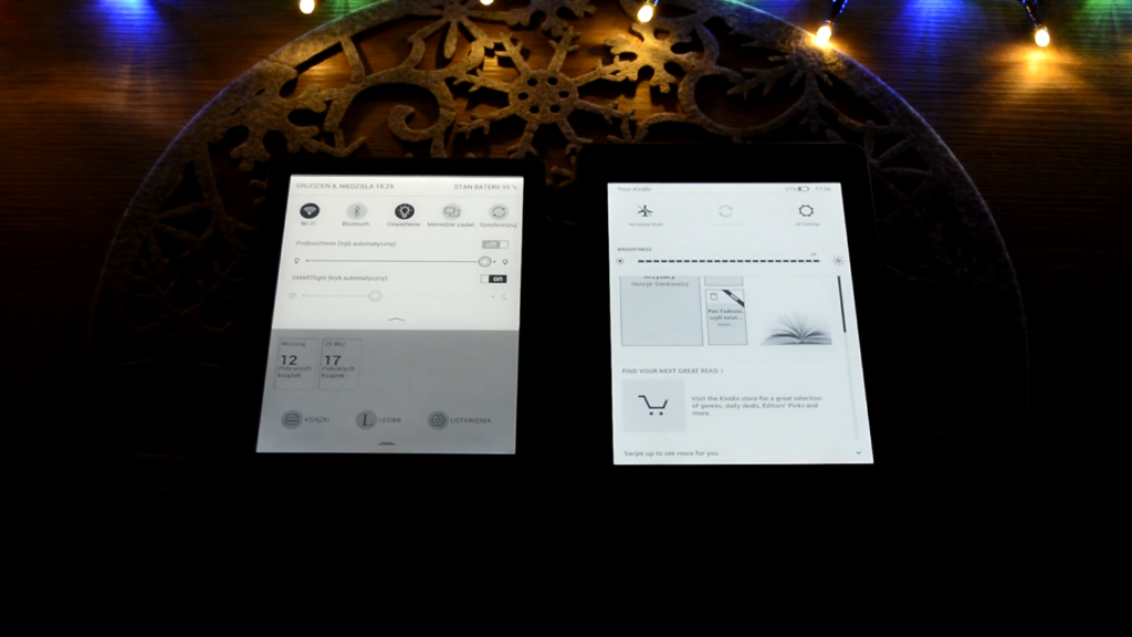 PocketBook Touch HD 3 vs Kindle Paperwhite 4 (regulacja podświetlenia)