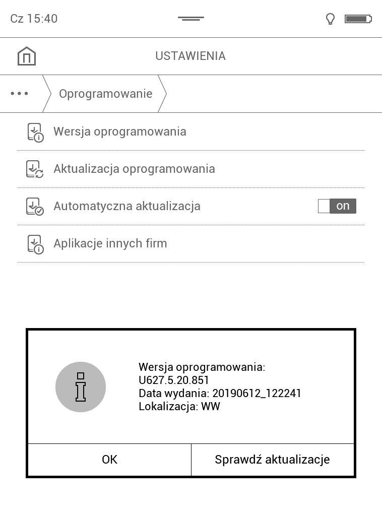 Sprawdzanie aktualnej wersji oprogramowania na czytniku PocketBook